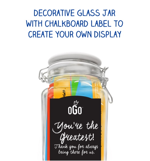 Decorative glass jar with chalkboard label to create your own display